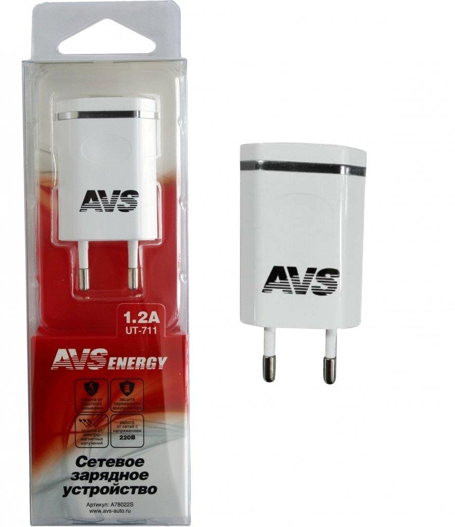 Сетевое зарядное устройство USB (1 порт) AVS UT-711 (1,2А)